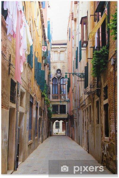 Póster Autoadhesivo Venecia - Pintoresca calle estrecha - Temas