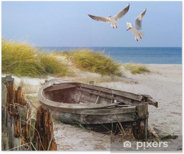 Póster Autoadhesivo Viejo barco de pesca, gaviotas, playa y mar - Barcos y yates