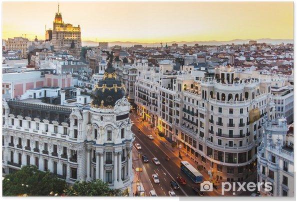 Póster Autoadhesivo Vista panorámica de la Gran Via, Madrid, España. - Temas