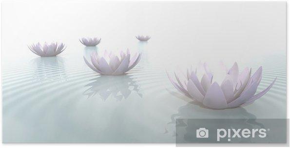 Póster Autoadhesivo Zen Flores sobre el agua en formato panorámico - Flores