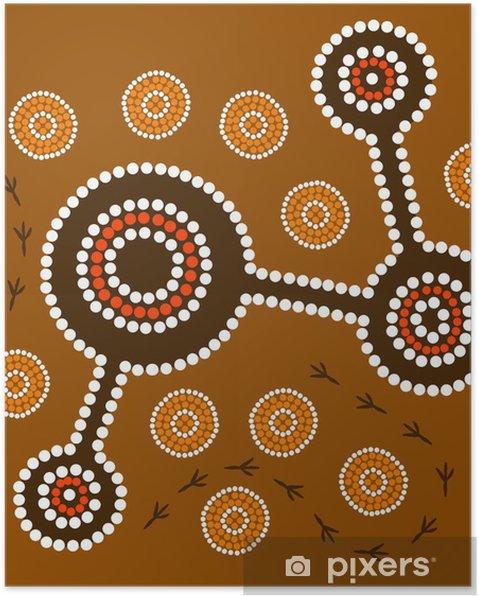 Poster Autochtone chemin de chasse désert - Arrière plans