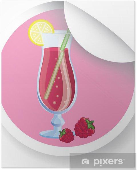 Poster Autocollant avec le cocktail de fruits, image de vecteur - Alcool