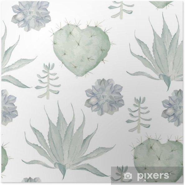 Poster autocollant Aquarelle cactus impression. Seamless - Plantes et fleurs