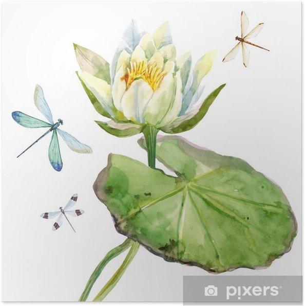 Poster autocollant Aquarelle fleur de lotus - Plantes et fleurs
