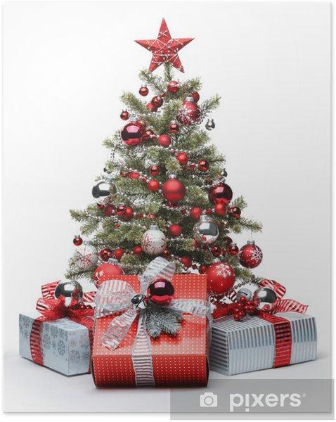Poster autocollant Arbre et des cadeaux de Noël décoré - Noël