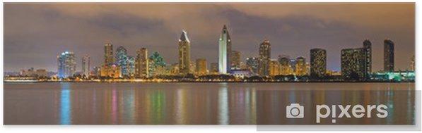 Poster autocollant Centre-ville de San Diego la nuit - Amérique
