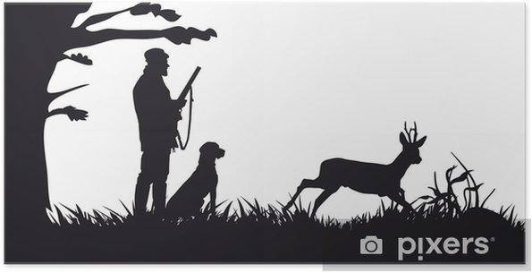 Poster autocollant Chasse motrice des animaux et des paysages - Nature et régions sauvages