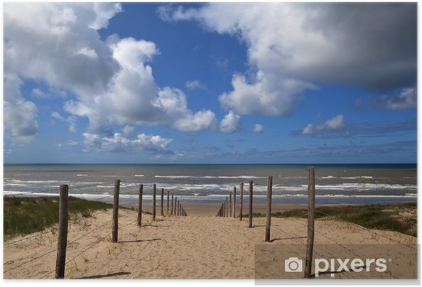 Poster autocollant Chemin d'accès à la plage sur la mer du Nord à Zandvoort aan Zee - Ciel