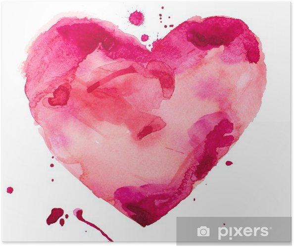Poster autocollant Coeur d'aquarelle. Concept - l'amour, les relations, l'art, la peinture - Concept
