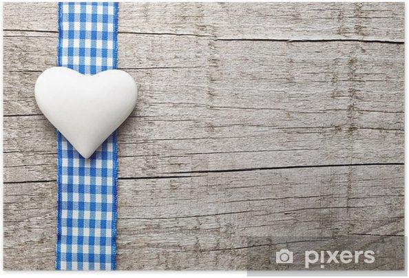 Poster autocollant Coeur et ruban sur fond de bois -