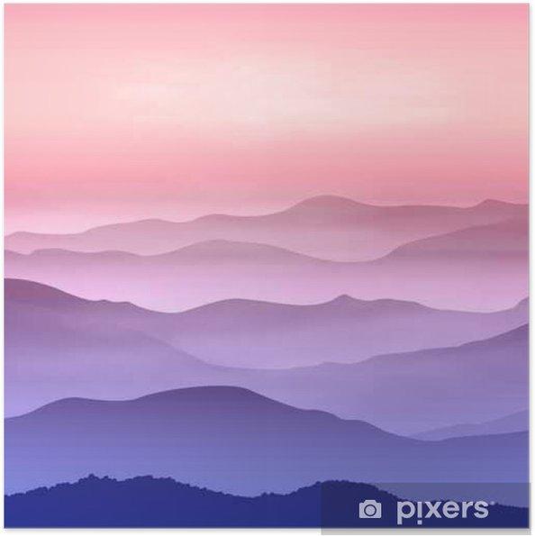 Poster autocollant Contexte avec les montagnes dans le brouillard. Temps de coucher du soleil. - Landscapes