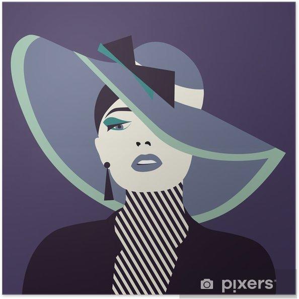 Poster autocollant Femme sexy stylisé avec cabane - Personnes