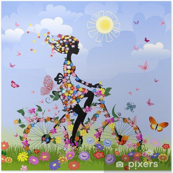 Poster autocollant Fille sur le vélo à l'extérieur en été - Thèmes
