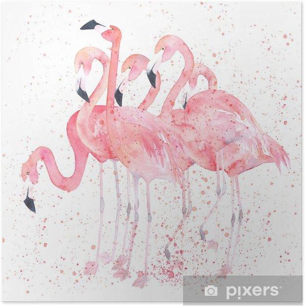 Poster autocollant Flamants aquarelles avec splash. image de peinture - Animaux