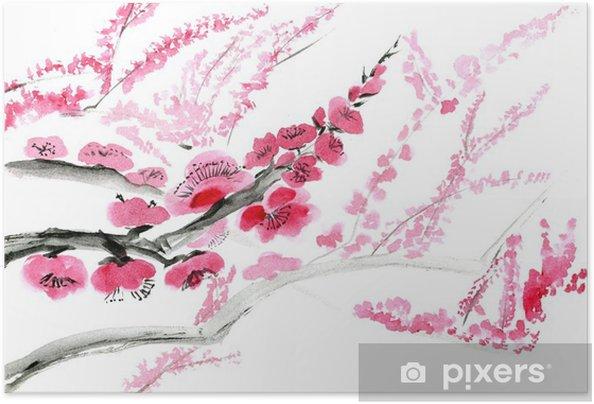 Poster autocollant Fleur de prunier. Photo dans le style de l'est par l'Inde d'encre, sumi-e. - Plantes et fleurs