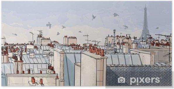 Poster autocollant France - les toits de Paris -