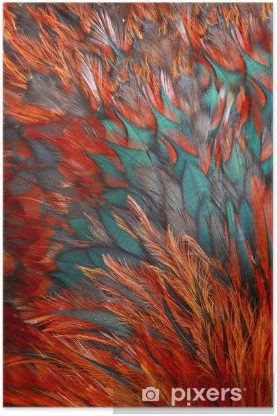 Poster autocollant Groupe de plumes marron brillant d'un oiseau - Arrière plans