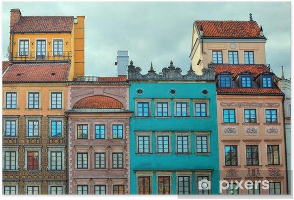 Poster autocollant Image HDR de maisons anciennes de Varsovie - Thèmes