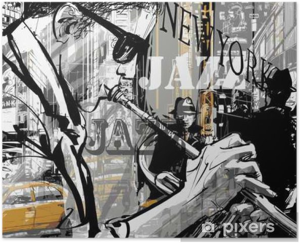 Poster autocollant Jazz joueur de trompette dans une rue de New york - Personnes