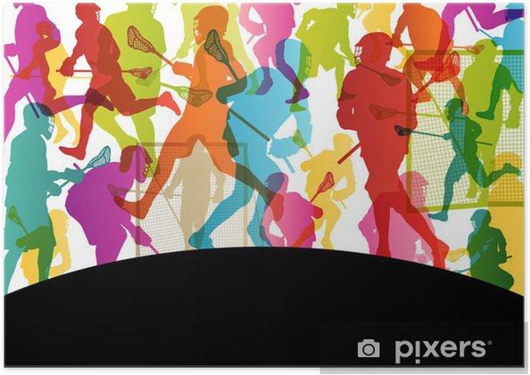 Poster autocollant Joueurs de crosse actifs hommes sport silhouettes backgrou abstrait - Autres sentiments