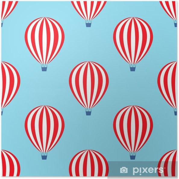 Poster autocollant Montgolfière seamless. vecteur de douche bébé illustrations sur fond de ciel bleu. Colorful chaude design ballons à air. - Transports