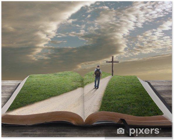 Poster autocollant Ouvrez la Bible avec l'homme et la croix - Monuments