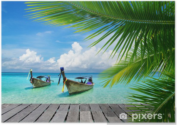 Poster autocollant Pont avec vue sur une mer tropicale - Bestsellers
