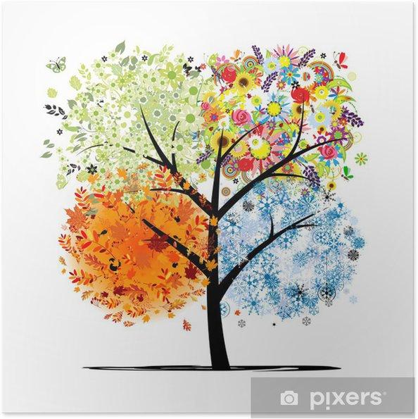 Poster autocollant Quatre saisons - printemps, été, automne, hiver. Art tree - Sticker mural
