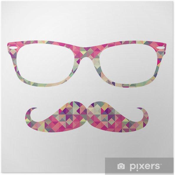 Poster autocollant Rétro hippie face à des icônes géométriques - Moustache