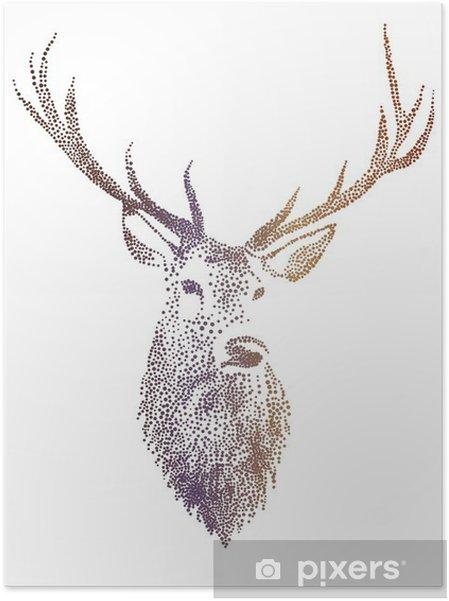 Poster autocollant Tête de cerf, vecteur - Mode de vie