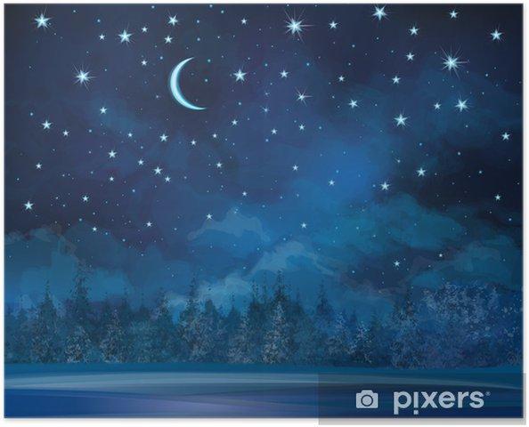 Poster autocollant Vecteur scène de nuit d'hiver, ciel et de la forêt. - Thèmes