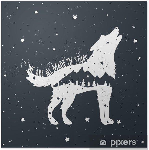 Poster autocollant Vector illustration avec hurlants loup, les montagnes et les arbres - Animaux