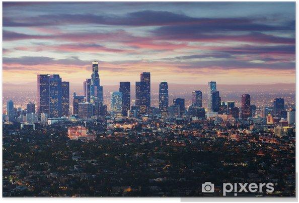 Poster autocollant Ville de Los Angeles en Californie au coucher du soleil avec des traînées lumineuses -