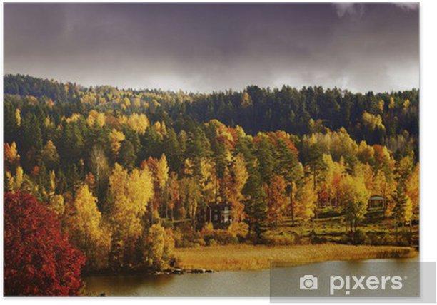 Poster Automne, chute, paysage de lacs et de forêts, la suède - Campagne