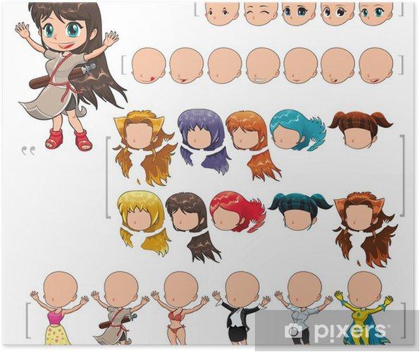 e093be7b1 Póster Avatar niña, ilustración vectorial, objetos aislados.