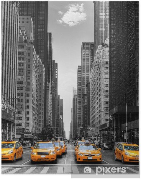 Avenue avec des taxis à New York. Poster -