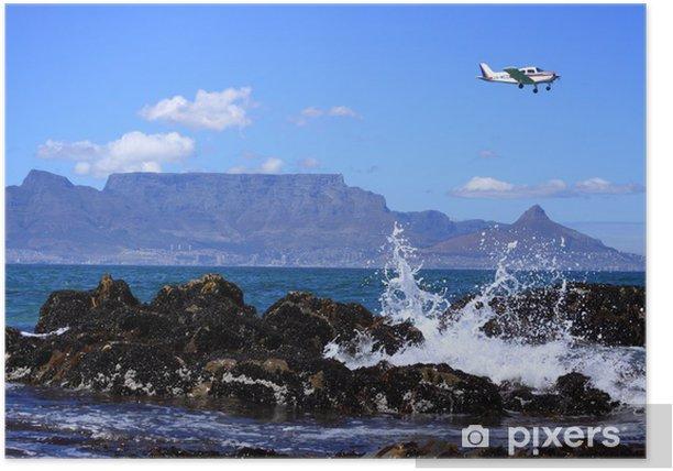 Poster Avion au-dessus de montagne de table - Afrique