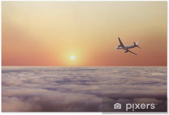 Póster Avión volar sobre las nubes - Temas