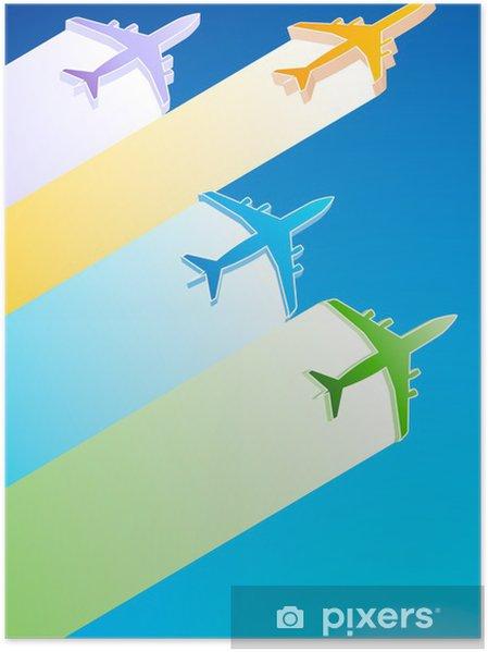 Poster Avions 3D Illustration - Dans les airs