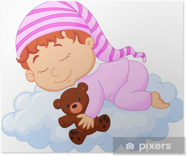d27a81d04311 Baby sleeping on the cloud Poster • Pixers® • We live to change