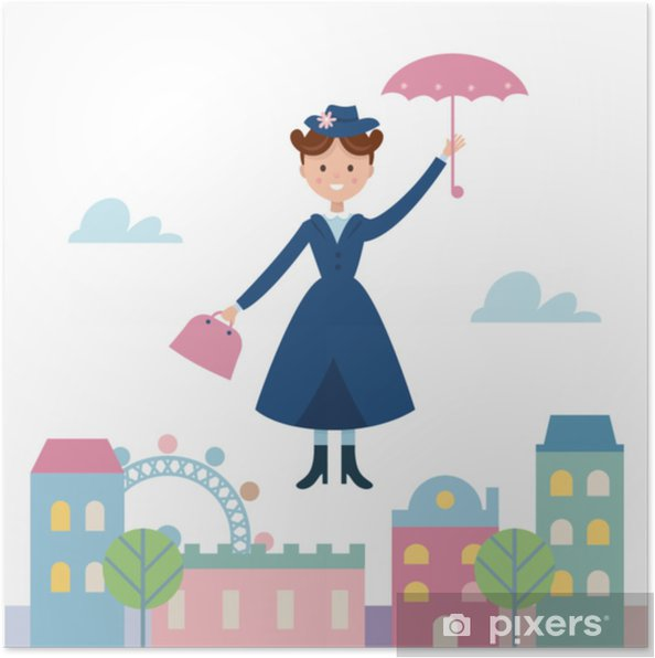 Poster Babysitter mary poppins vliegen over de stad. vectorillustratie - Mensen