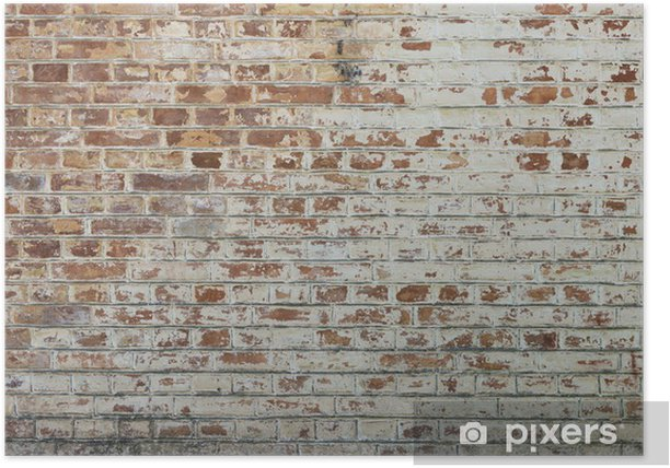 Background of old vintage dirty brick wall with peeling plaster Poster - Themes