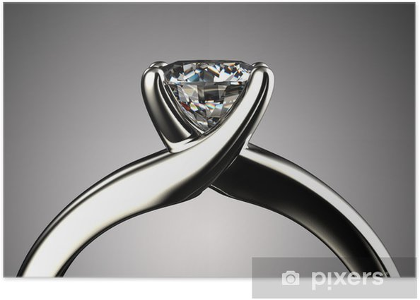 Poster Bague avec diamant isolé sur fond gris - Pour bijouterie