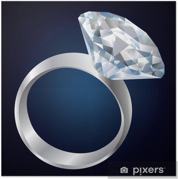 Poster Bague de diamant sur fond noir - Mode