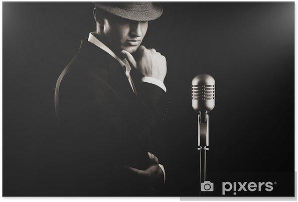 Póster Bajo clave retrato de la cantante de jazz en el sombrero en la oscuridad. - Hombres