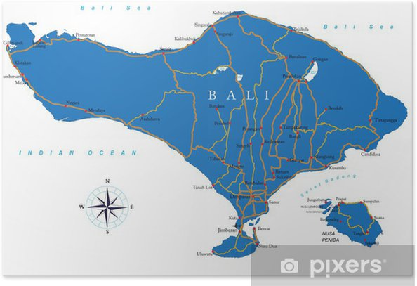 Poster Bali carte - Asie