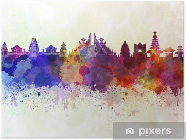 Poster Bali skyline in aquarel achtergrond - Landschappen