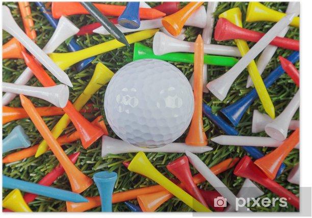 Poster Balle de golf et la collecte des tees en bois. - Thèmes