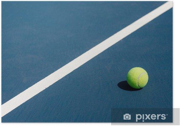 Poster Balle de tennis sur le court de tennis - Sports individuels