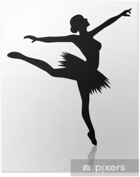 Poster Ballerine dans l'attitude arabesque - vecteur et en option - Femmes